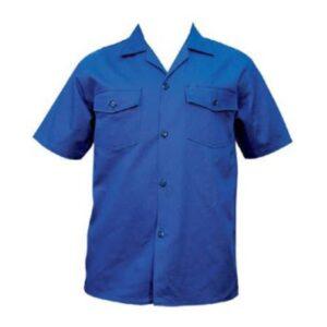 Camisa En Dril Manga Corta Color Azul